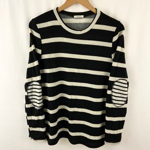 12PM by Mon Ami Striped Elbow Patch Light Sweater